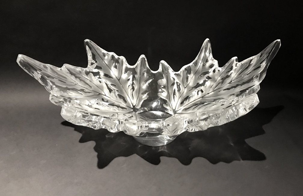 LALIQUE 'CHAMPS-ELYSEES' LEAF FORM CRYSTAL BOWL. Froste