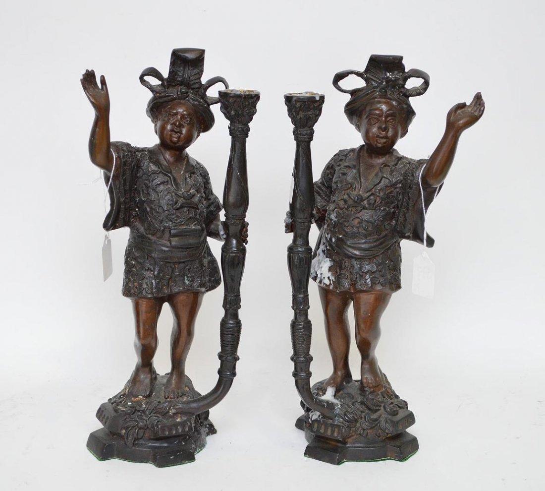 Pair Of Patinated Bronze  Blackamoor Candlesticks