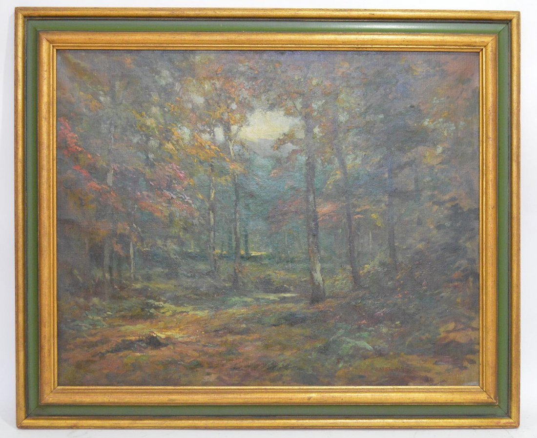 American School oil forest landscape illegibly signed