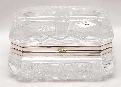 """1006: Fine cut glass box with silver plated mounts, 7""""L"""