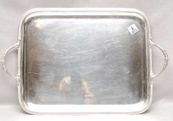 """1007: Late 19th Century French silver tray 51oz, 19""""L x"""