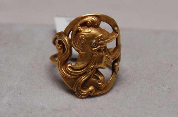 1013: Roman head ring, 14kt yellow, 8m dia, 5.3dwt