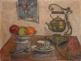 Marilla Abaloff, Oil On Canvas, Still Life Fruit,