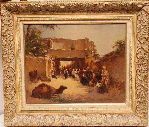1028: Orientalist, oil on canvas, marketplace with came