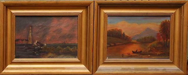 1037: Pair of 19th century paintings, oil on canvas, G.