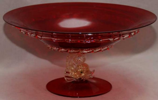 1041: Venetian glass compote with figural dolphin suppo