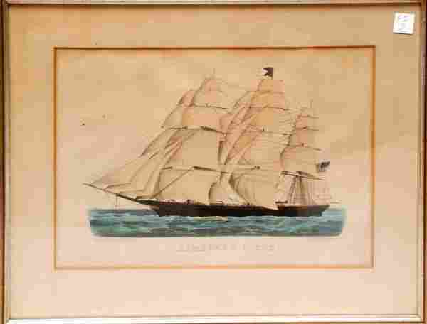 "1229: Currier and Ives, colored lithograph, ""Homeward B"