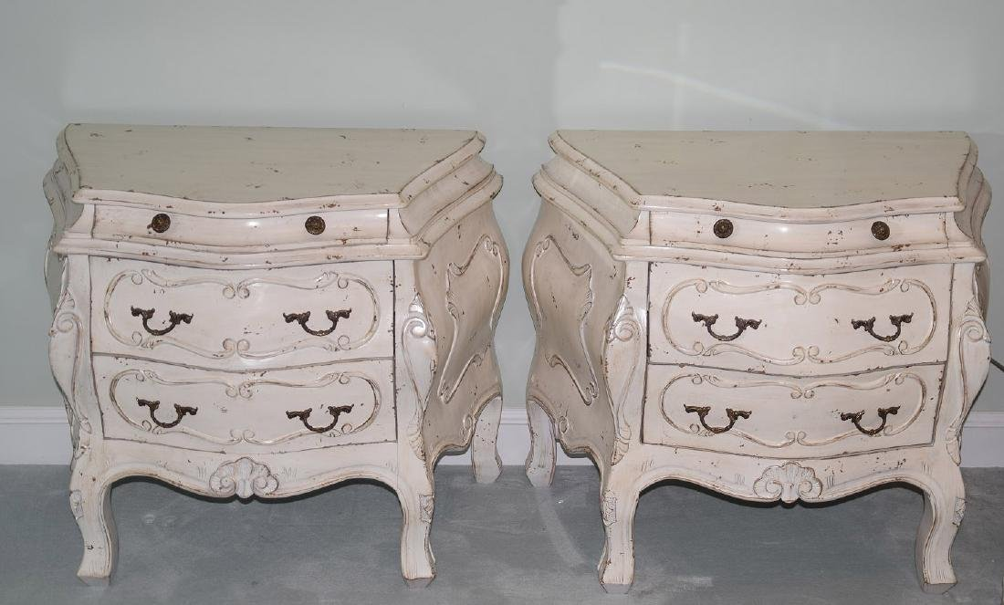 Pair distressed Bombay side tables each with 3 drawers,