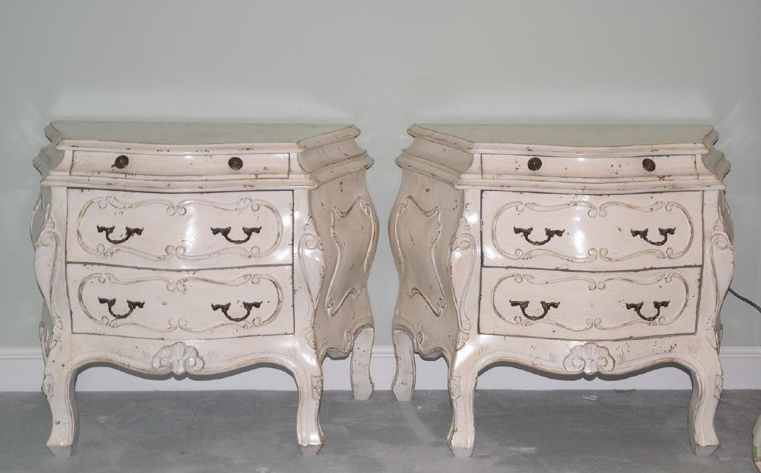 Pair distressed Bombay side tables each with 3 drawers, - 2