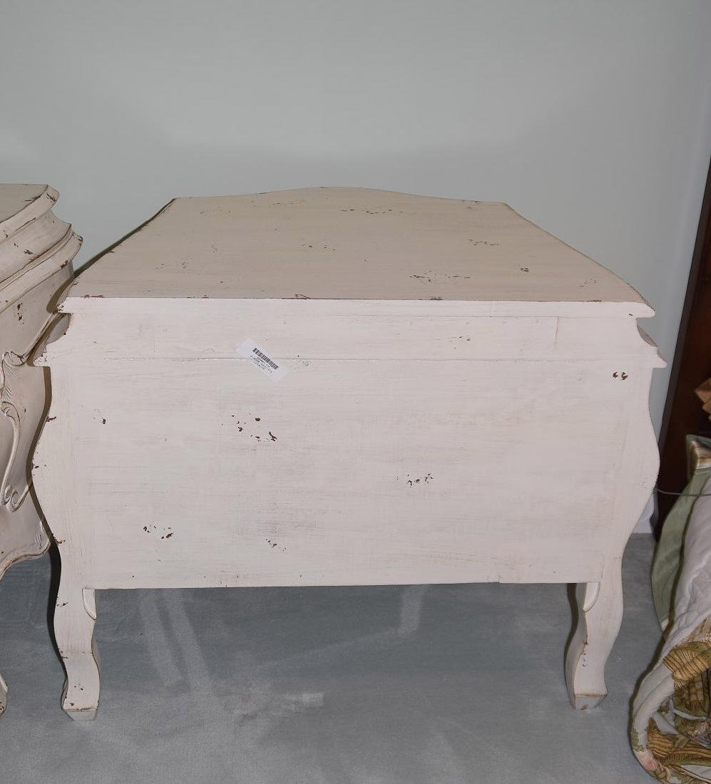 Pair distressed Bombay side tables each with 3 drawers, - 5