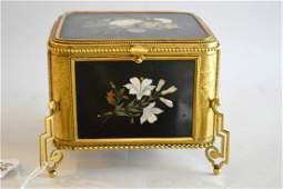 Antique Gilt Bronze  Pietra Dura Box  The box raised