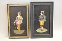 2 Framed Pietra Dura Plaques.  One Plaque depicting a