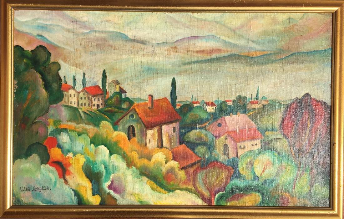 Ilya Ivanovich Mashkov RUSSIAN o/c Painting village