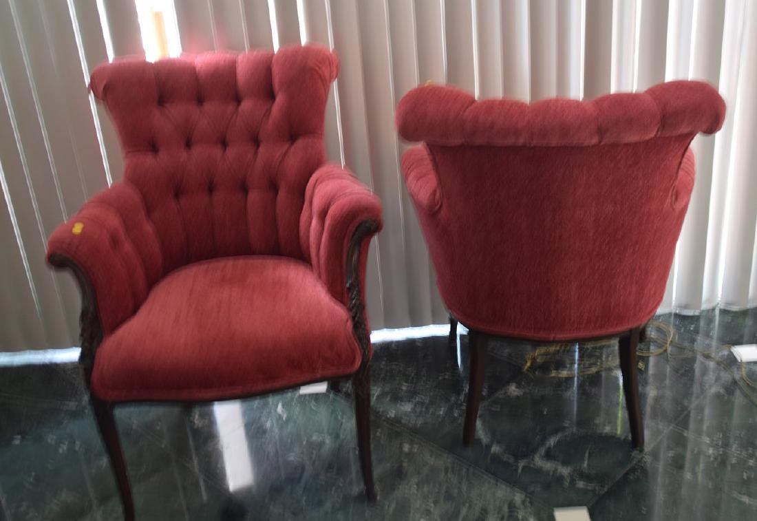 Pair tufted back red upholstered arm chairs with carved - 2