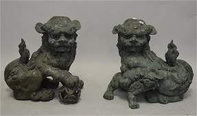 "Pair Bronze foo dogs, 27""h x 22""w"