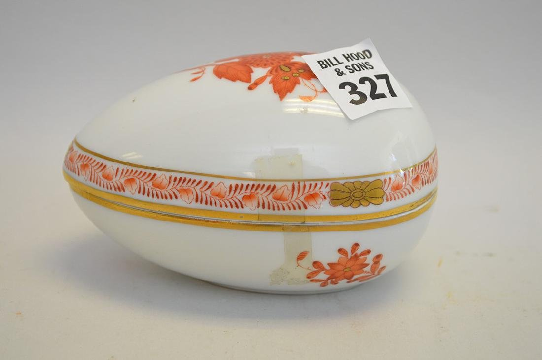 """Herend porcelain egg box, Rust Chinese Boquet, 3""""h"""