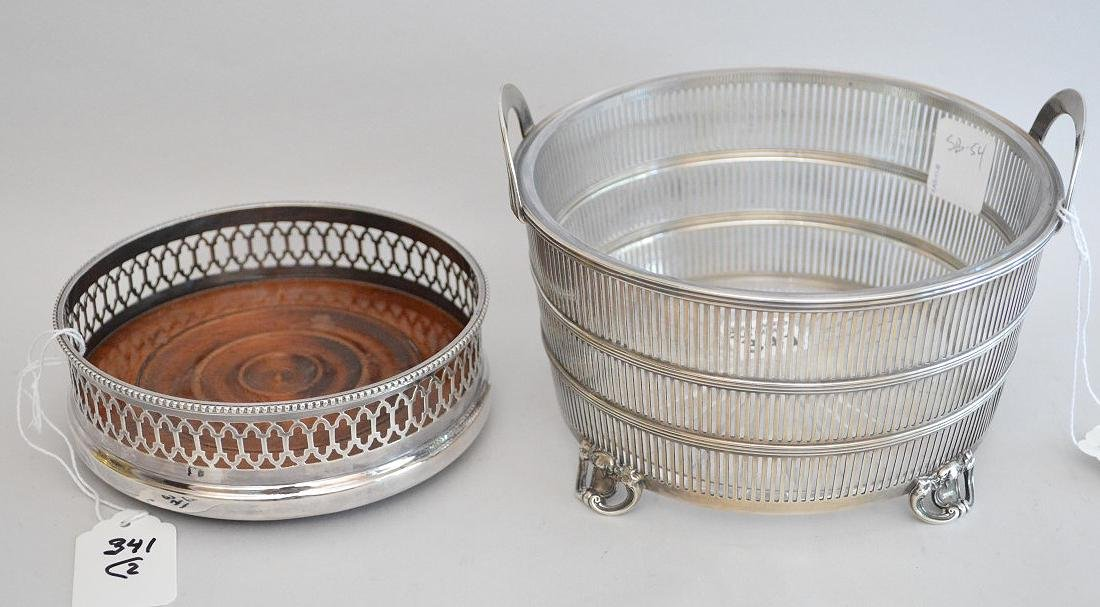 English footed sterling wine coaster and sterling ice