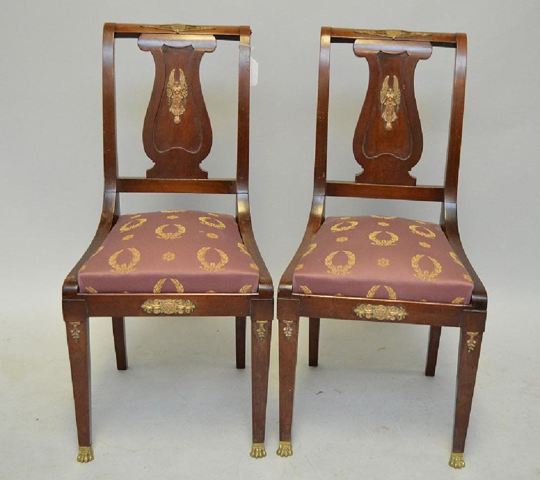 Pair of mahogany Neo-Classical side chairs with a