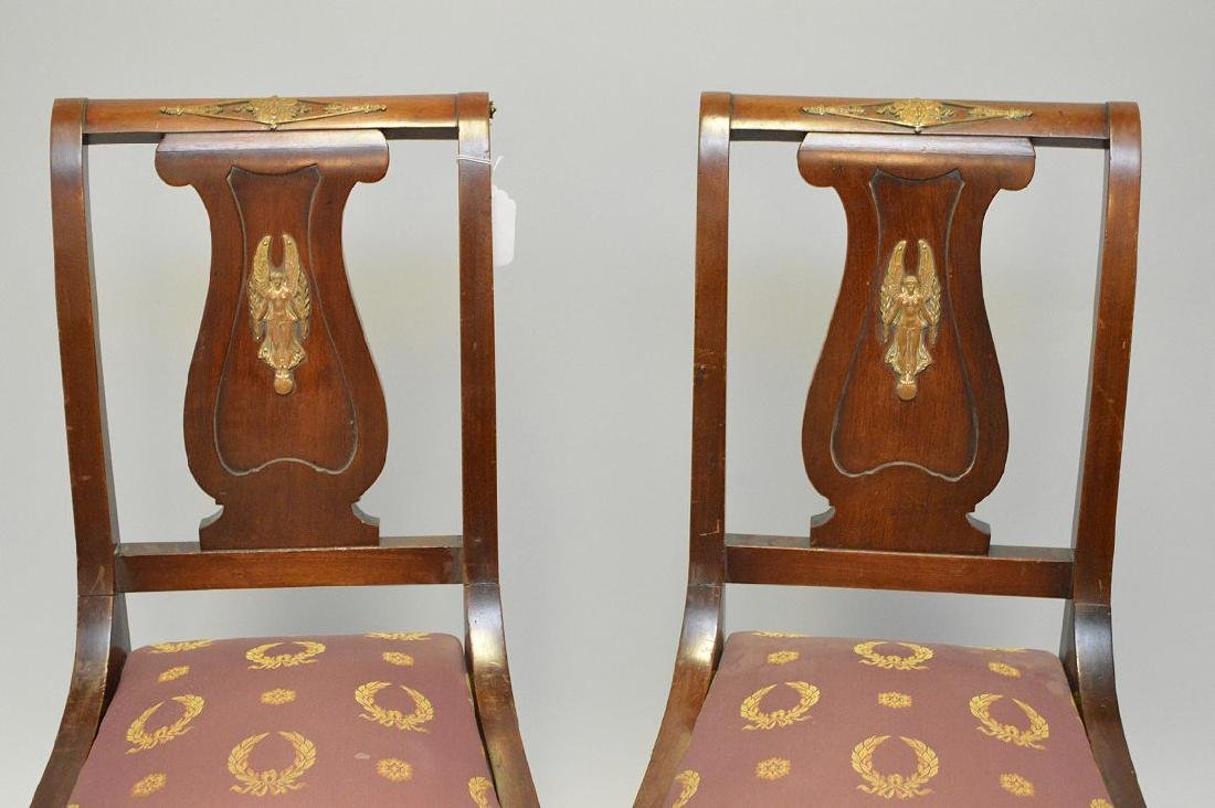 Pair of mahogany Neo-Classical side chairs with a - 2