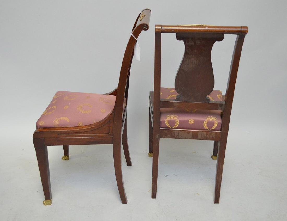 Pair of mahogany Neo-Classical side chairs with a - 3