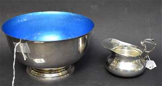 Towle Sterling Revere Style Bowl with blue enamel
