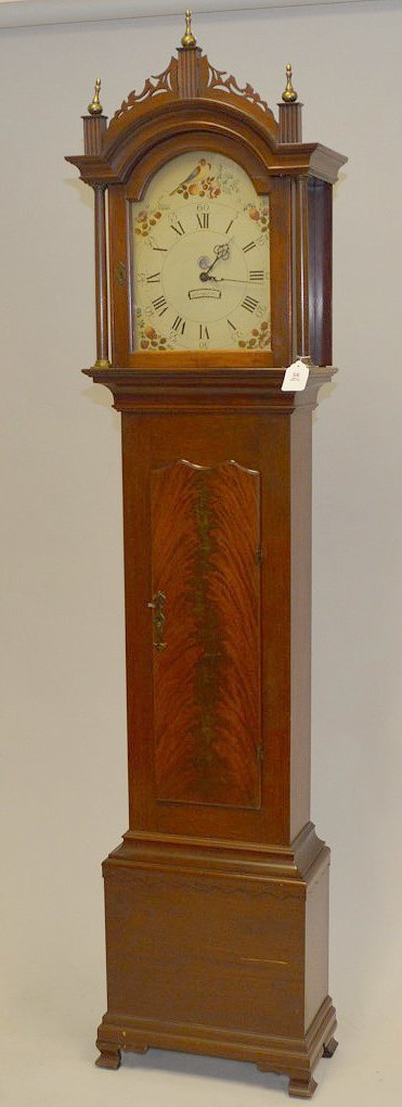"Tall case clock, painted face, electric movement 88""h x"