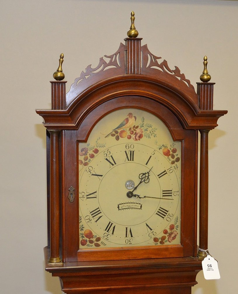 "Tall case clock, painted face, electric movement 88""h x - 2"