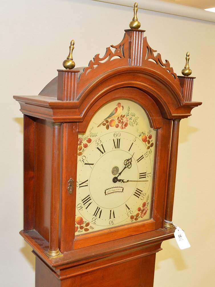 "Tall case clock, painted face, electric movement 88""h x - 3"