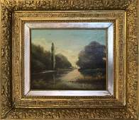 19th Century Landscape trees  waterway oil on canvas