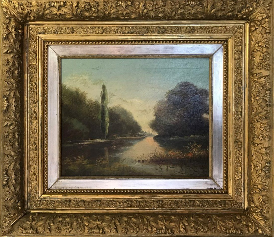 19th Century Landscape tree's / waterway, oil on canvas
