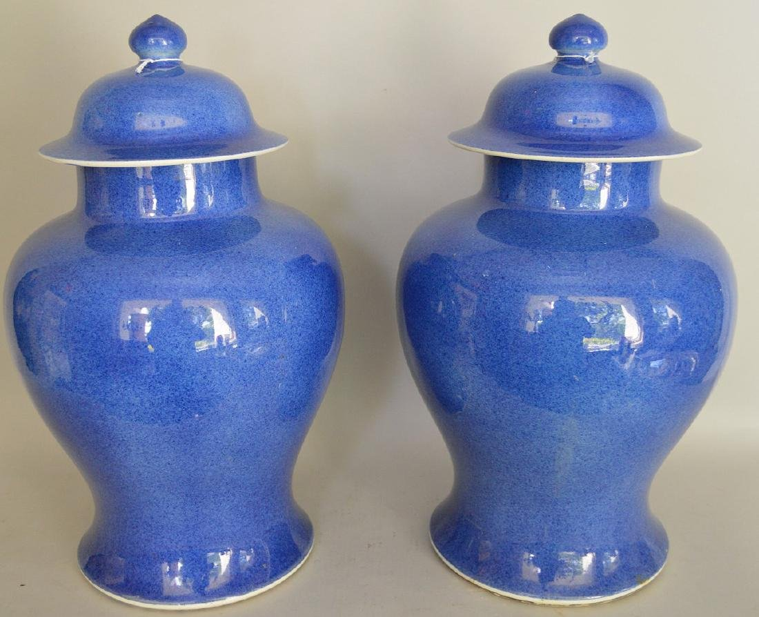 Pair of Large Blue Chinese Porcelain Urns -  Cobalt