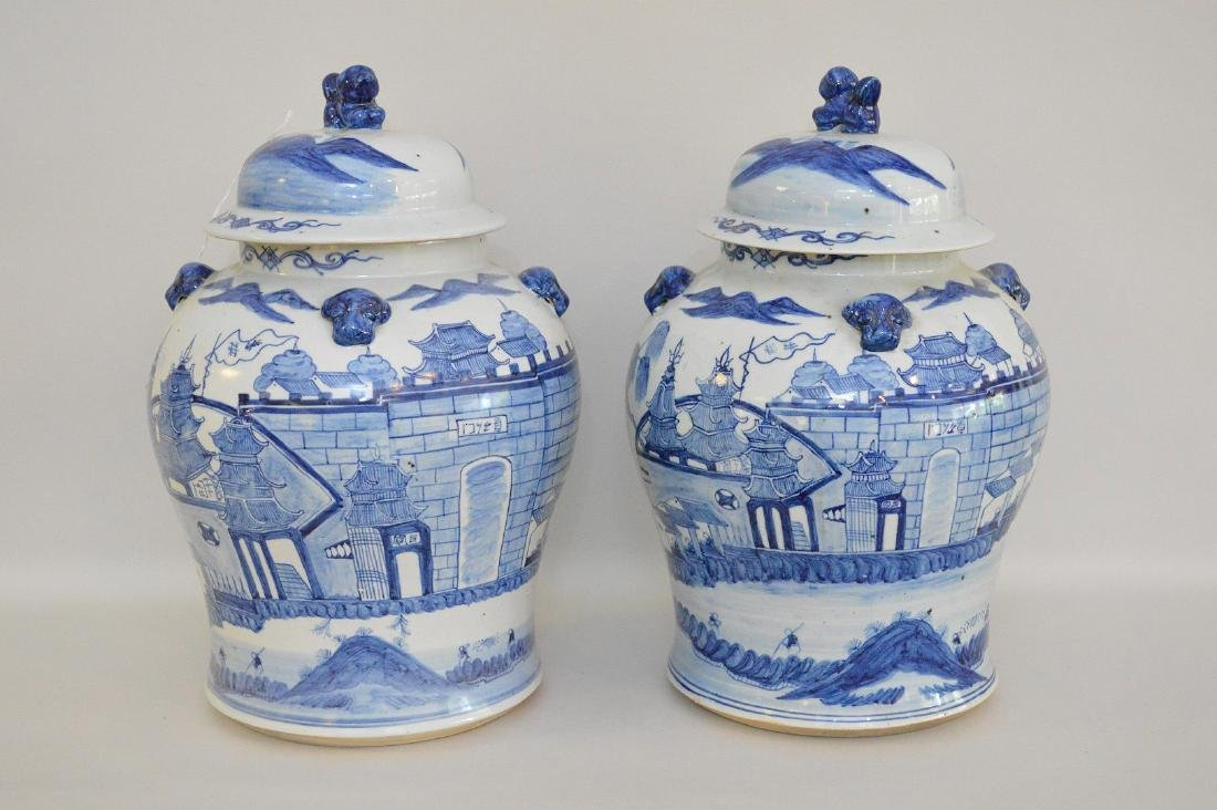 Pair Chinese Porcelain Urns.  Each with blue decoration