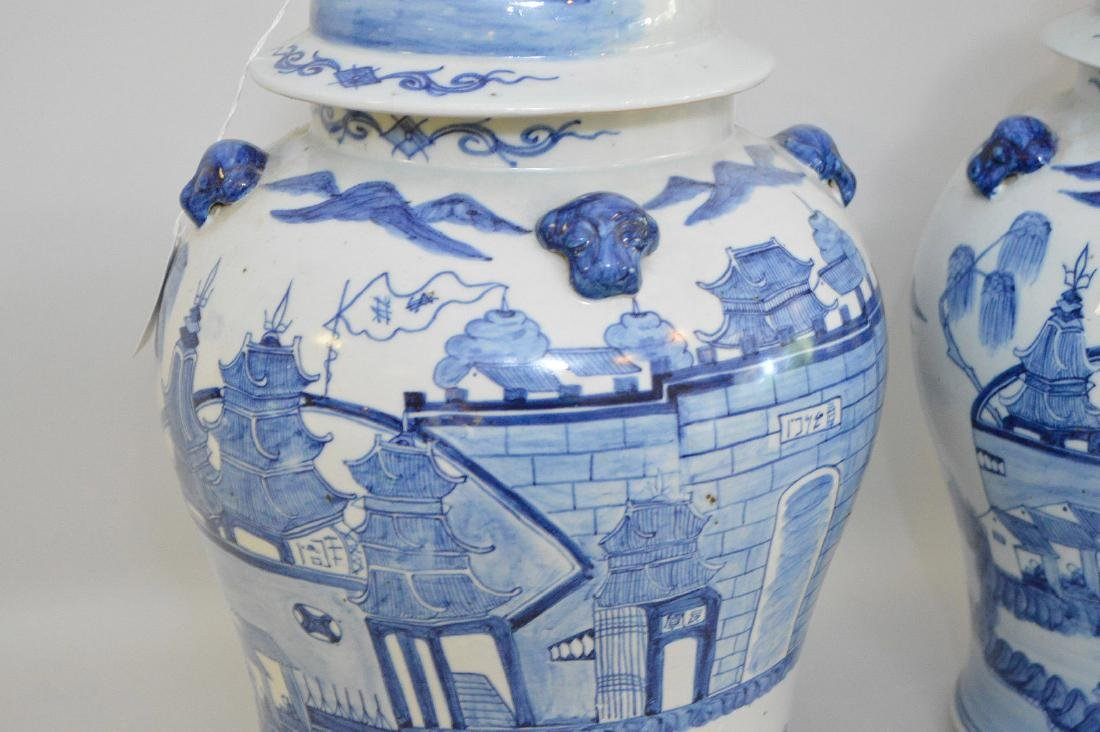 Pair Chinese Porcelain Urns.  Each with blue decoration - 3