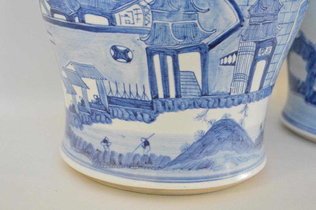 Pair Chinese Porcelain Urns.  Each with blue decoration - 4