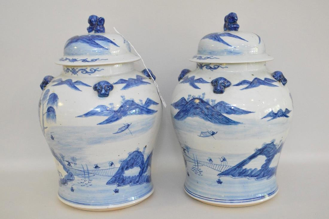 Pair Chinese Porcelain Urns.  Each with blue decoration - 5