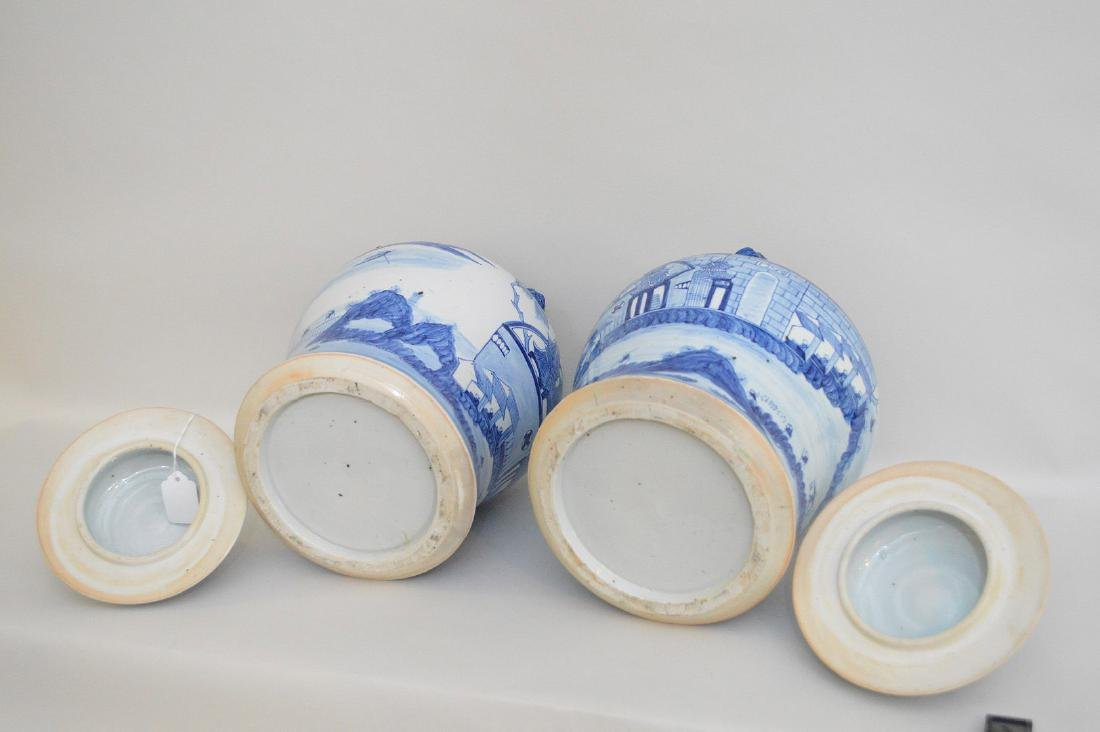 Pair Chinese Porcelain Urns.  Each with blue decoration - 6