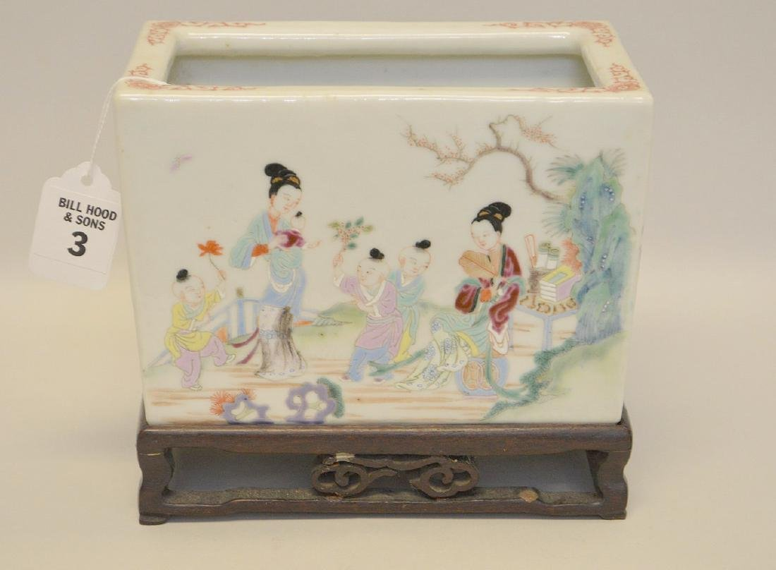 Chinese Famille Rose Porcelain Pot with custom carved