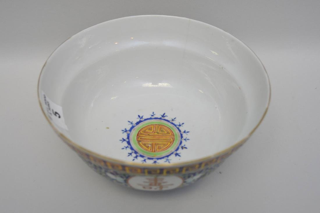 Chinese Porcelain Bowl with floral decoration on a blue - 2