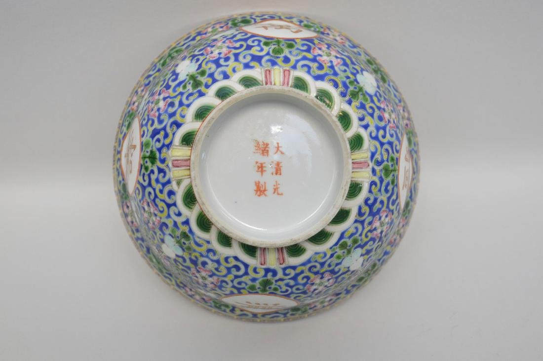 Chinese Porcelain Bowl with floral decoration on a blue - 3