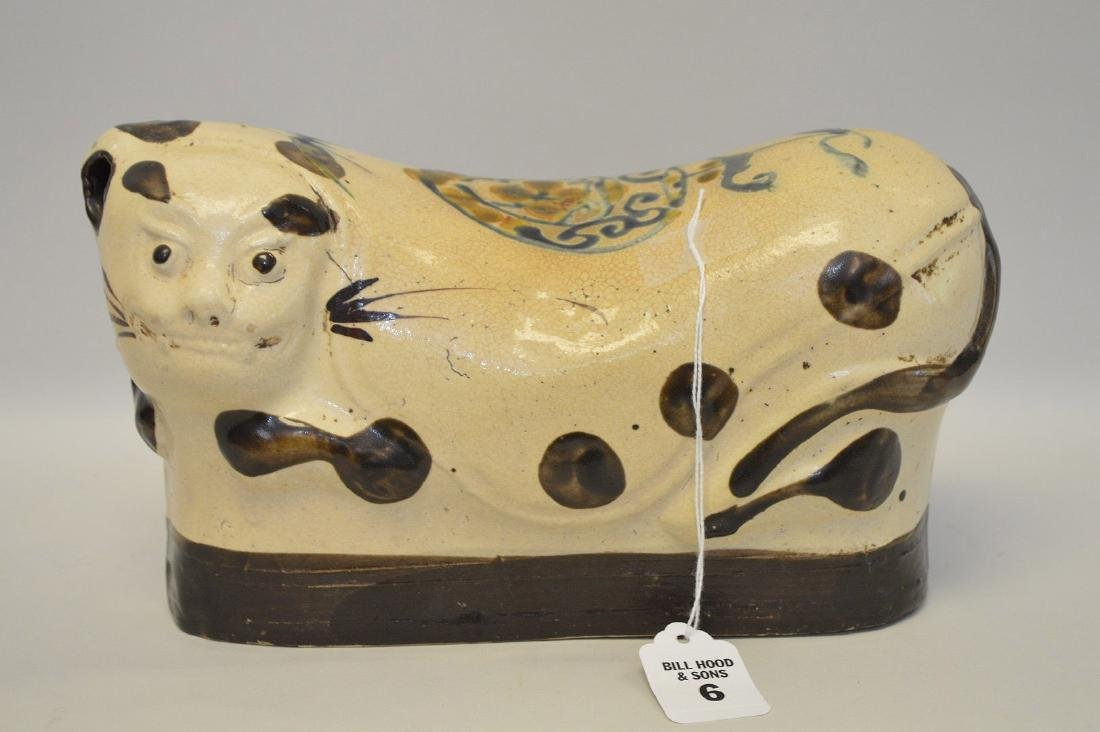 Chinese Porcelain Cat Form Pillow.  Condition: slight