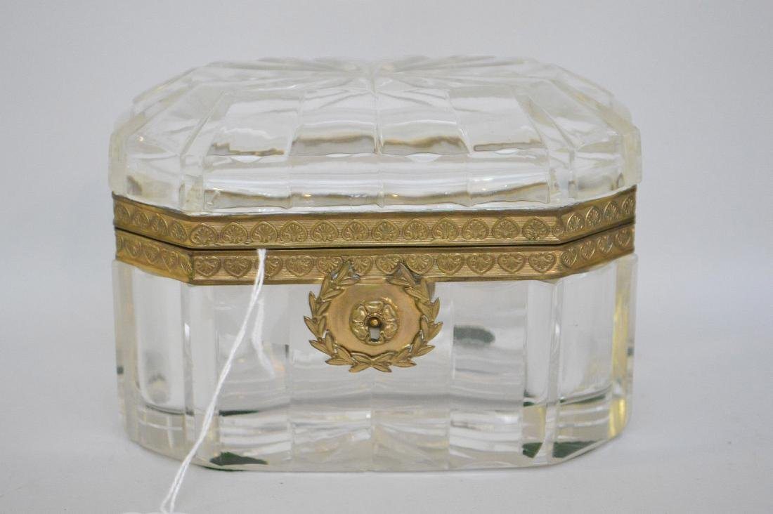 French Crystal & Bronze box with hinged top.