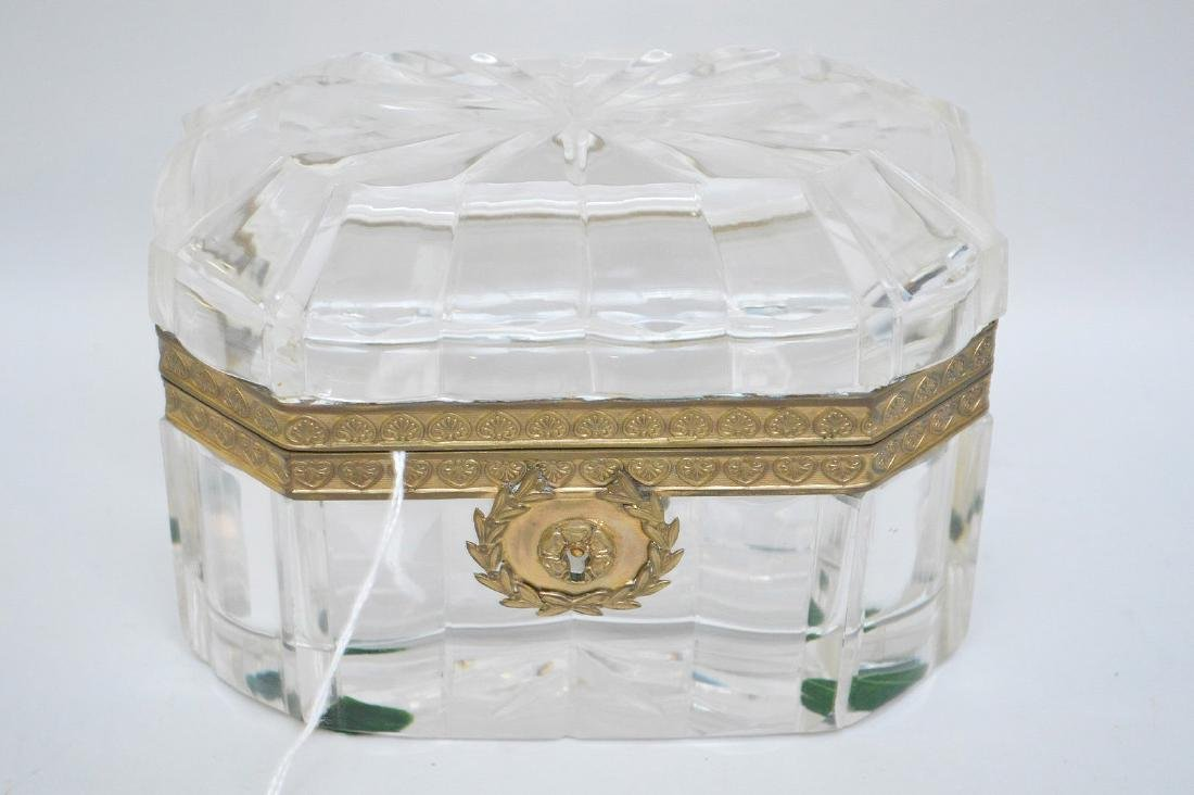 French Crystal & Bronze box with hinged top. - 2