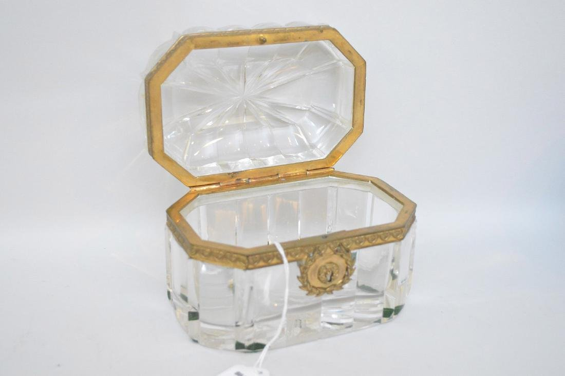 French Crystal & Bronze box with hinged top. - 3