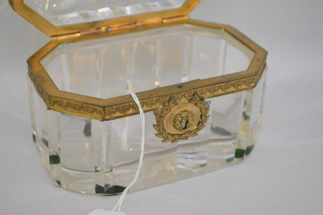 French Crystal & Bronze box with hinged top. - 5