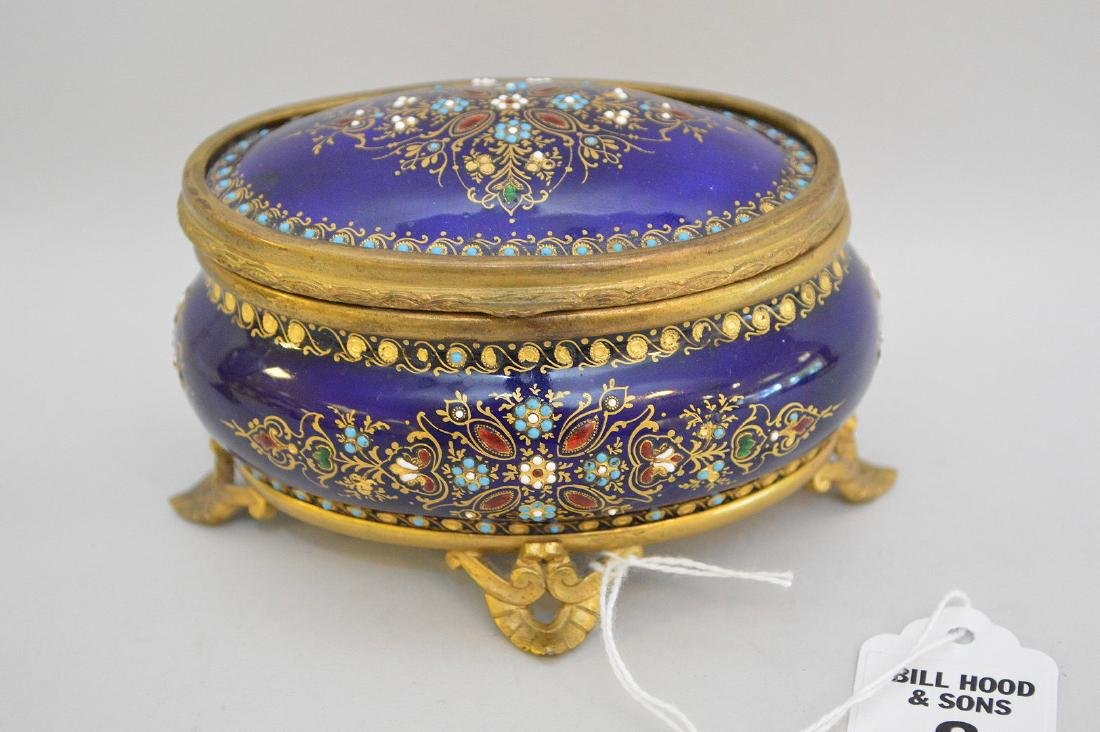 French Enamel & Brass box with hinged top.  Condition: