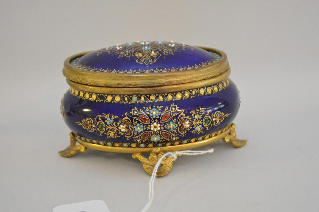 French Enamel & Brass box with hinged top.  Condition: - 3
