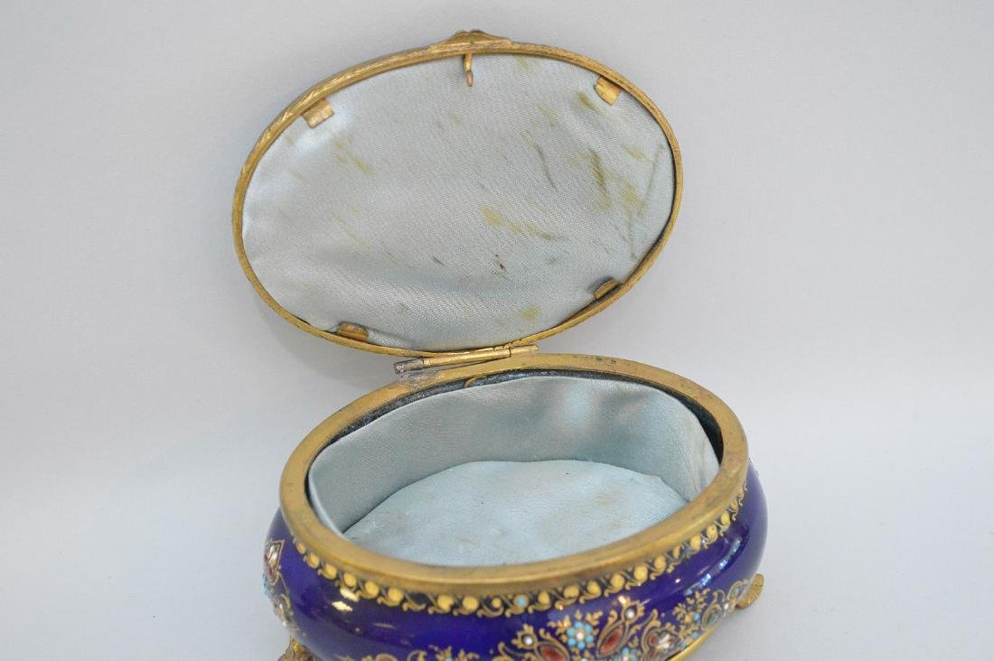 French Enamel & Brass box with hinged top.  Condition: - 4