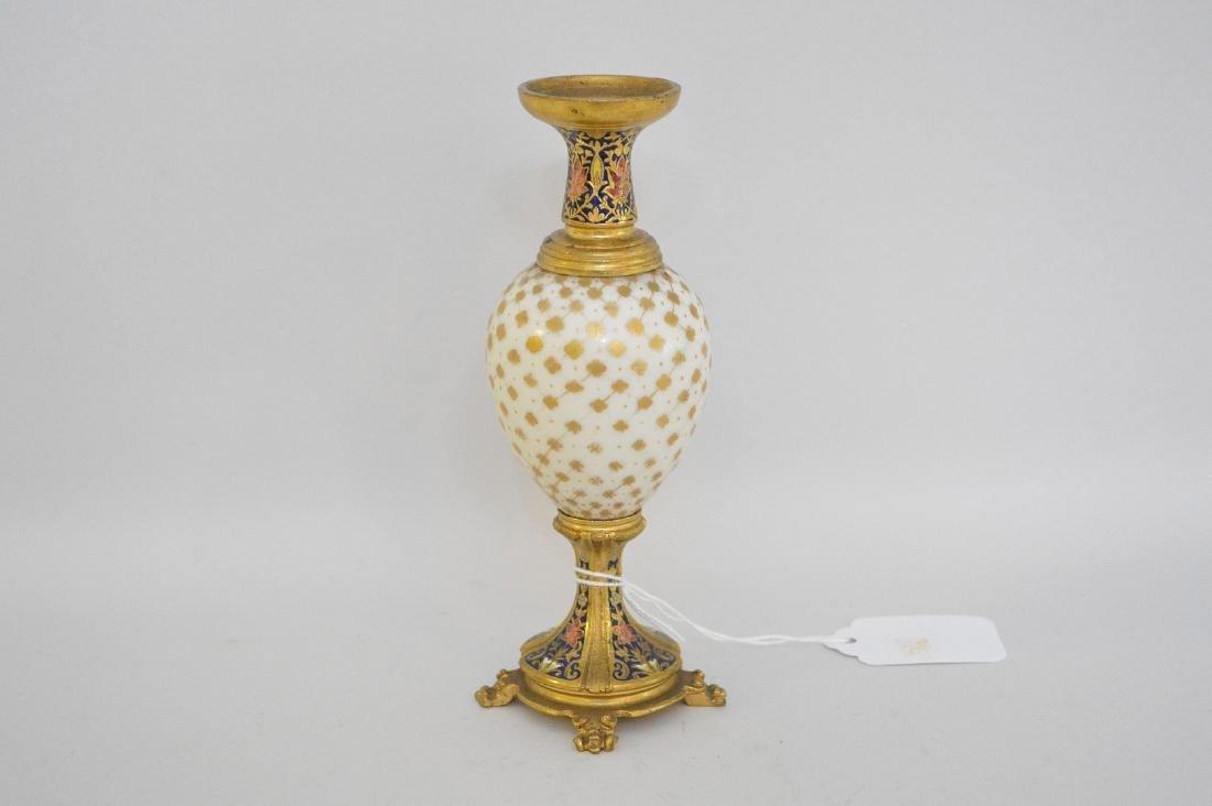 French Bronze Porcelain & Enamel Cabinet Vase.  The
