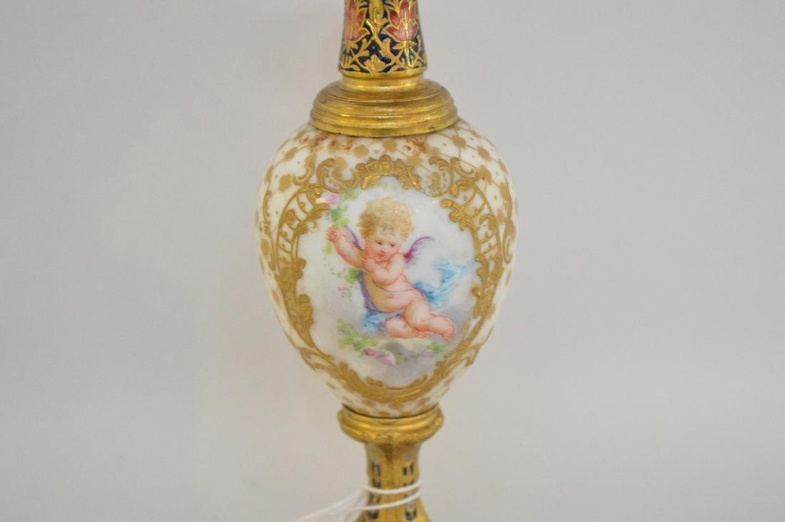 French Bronze Porcelain & Enamel Cabinet Vase.  The - 6