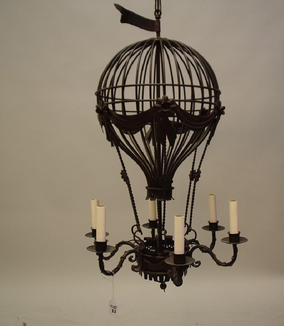 SIX-LIGHT METAL BALLOON FORM CHANDELIER - Condition: - 2